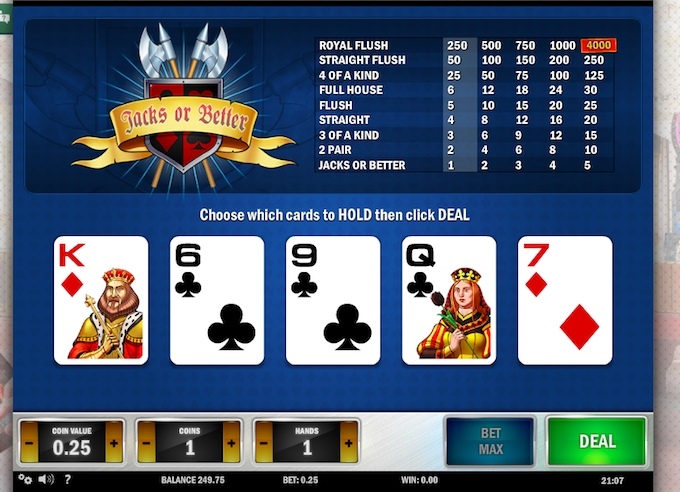 Jacks or Better videopoker hos Cherry Casino