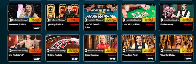 NorskeAutomater Live casino