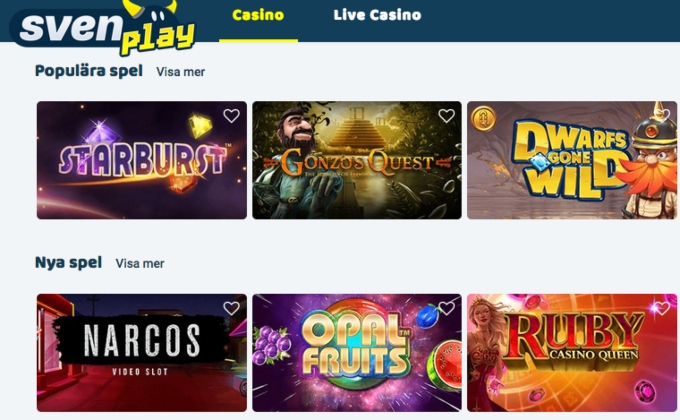 Svenplay Casino Bonus Games